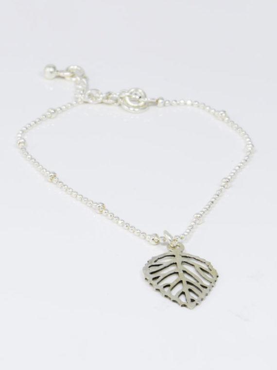 Be Leaf Charm Sterling Silver Bracelet Handmade