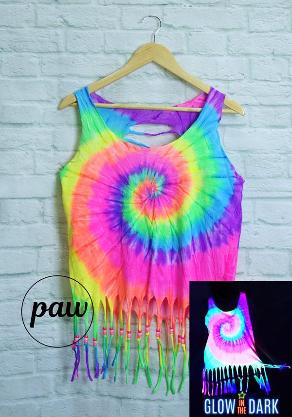 602ae637bc4f1 UV Black Light Glow in the Dark Rainbow Fringe Tie Dye Crop Top
